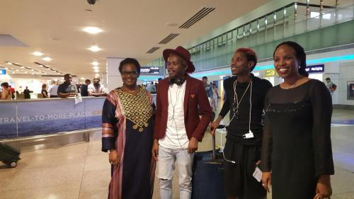 Mercy Achola and Juliet Kirui welcoming Eric Omondi and Chipukeezy to Dubai as they came to perform @ Madaraka diaspora day organized by Value Connect